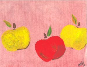 Three apples, green red and yellow
