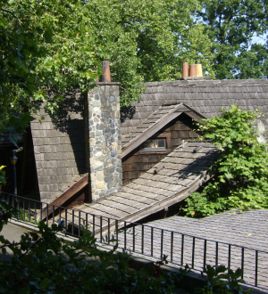 the roofline at the back, the chimney used light and dark stones for a shadow effect