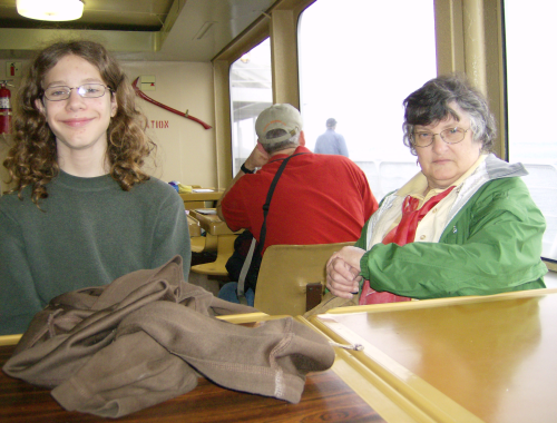 stidkid and his grandmother on the ferry from Washington state to Vancouver Island