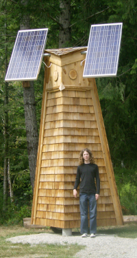 The solar panel are mounted on a hootowl tower!