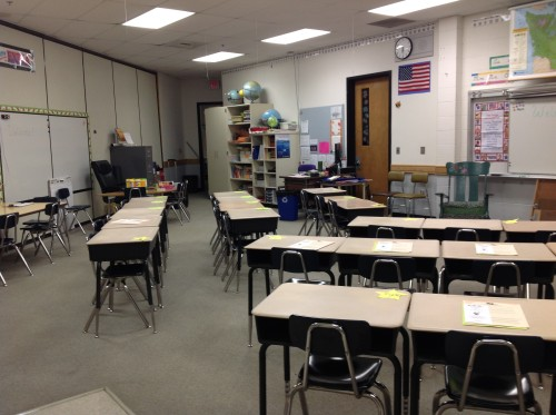 desks in appropriate rows space in front for floor time space