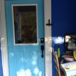 The dragonfly door knocker from a friend in Canada.  I love how it looks next to the bright blue door!